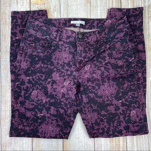 CABI Purple Twilight Camo Jeggings Jeans, Stretch